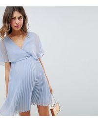 1a6dd299e4293 ASOS Asos Design Maternity Flutter Sleeve Midi Dress With Pleat Skirt In  Embroidery in Gray - Lyst