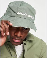 Jack & Jones Двусторонняя Панама Зеленого И Белого Цвета С Контрастным Логотипом -зеленый Цвет