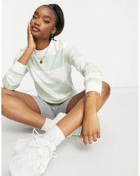 UNIQUE21 Sweat-shirt rayé - Vert et écru - Multicolore