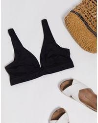 Monki Yvette Plunge Neck Bikini Top - Black