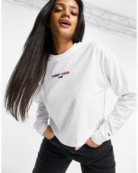 Tommy Hilfiger Crop Logo Long Sleeve Tee - White