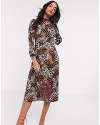 Warehouse Multi Floral Print Midi Dress - Multicolour
