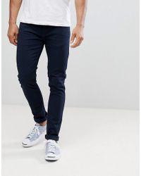 Farah - Drake Slim Fit Twill Jeans In Navy - Lyst