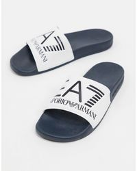 EA7 Шлепанцы Белого/темно-синего Цвета С Логотипом Armani -белый