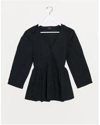 SELECTED Femme - Blouse cache-cœur en popeline avec épaules fantaisie - Noir