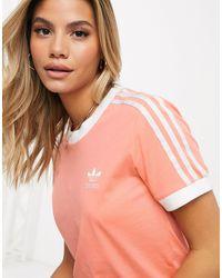 adidas Originals - Розовая Футболка С Тремя Полосками Adicolor-оранжевый Цвет - Lyst