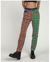 The Ragged Priest Mom jeans a quadri multicolore