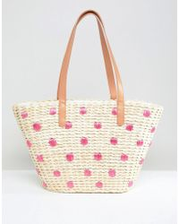 Chateau Straw Beach Bag With Embroidered Polka Dots - Natural