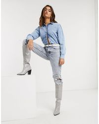 Object Denim Shirt With Puff Sleeves - Blue