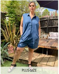 Noisy May – Exklusiver Jeans-Playsuit - Blau