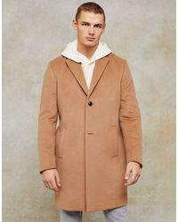 TOPMAN Темно-бежевое Пальто Классического Кроя Considered-коричневый Цвет