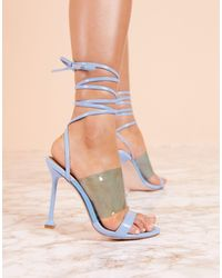 ASOS Luxe Hot Barely There Heeled Sandals - Blue