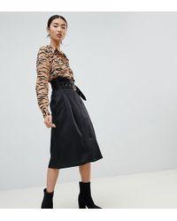 NA-KD Paperbag Detail Midi Skirt In Black