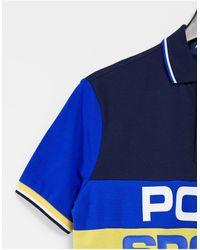 Polo Ralph Lauren - Разноцветная Футболка-поло Из Пике В Стиле Колор Блок С Большим Логотипом Sport-темно-синий - Lyst