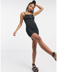 Bershka Mini Dress With Ruched Front - Black
