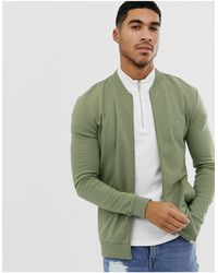 ASOS Muscle Bomber Jersey Jacket - Green