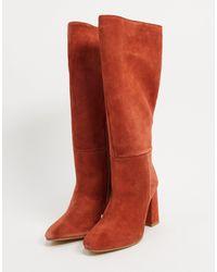 ASOS Comet Suede Pull On Boots - Orange