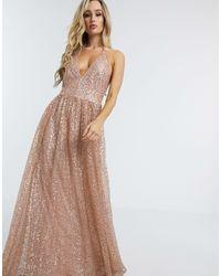 Goddiva Plunge Glitter Cami Maxi Dress - Pink