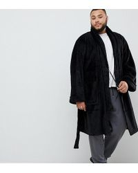 French Connection Plus Fleece Dressing Gown In Black