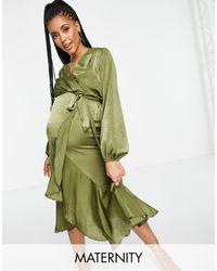 Flounce London Satin Wrap Front Midi Dress - Green