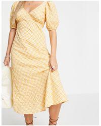 New Look Puff Sleeve Midi Tea Dress - Yellow