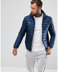 Ellesse - Padded Jacket With Hood In Navy - Lyst