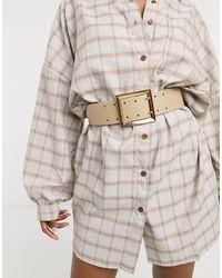 ASOS Wide Double Prong Waist Belt - Natural