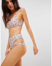 Beach Riot Slip bikini a vita alta a fiori con cut-out - Multicolore