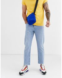 TOPMAN Dad Fit Jeans In Bleached Blue