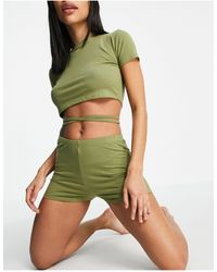 Brave Soul Zoe Lounge Set With Tie Detail And Booty Shorts - Green