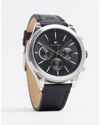 Tommy Hilfiger Sunray - Horloge Met Zwart Leren Bandje 1791740