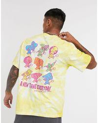 Pull&Bear Tie Dye Graphic T-shirt - Yellow