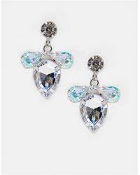 True Decadence Irridescent Crystal Stud Earrings With Tear Drop - Metallic