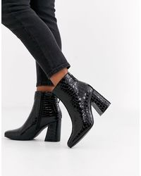 New Look Square Toe Flare Heel Croc Boot - Black