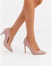 Faith Chloe Light Pink Patent Court Heeled Shoes - Multicolour