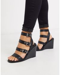 ASOS Wide Fit Terrace Strappy Wedges - Black
