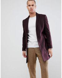 New Look - Over Coat In Burgundy - Lyst