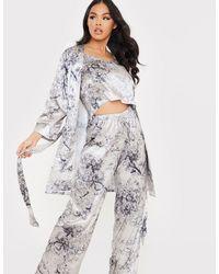 In The Style Атласный Халат С Поясом, Контрастной Отделкой И Цветочным Принтом Темного-синего Цвета X Lorna Luxe-многоцветный - Серый