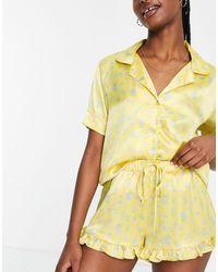 ASOS Желтая Атласная Пижама Из Рубашки И Шорт С Цветочным Принтом И Оборками - Желтый