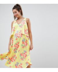 ASOS - Asos Design Maternity Slinky Floral Cape Midi Dress - Lyst