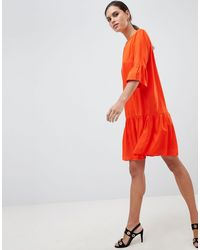 Y.A.S Fluted Sleeve Drop Hem Mini Dress - Orange