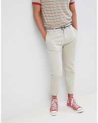 Mango - Man Belted Chino In Stone - Lyst
