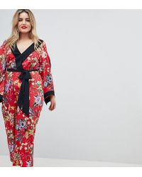 ASOS - Asos Design Curve Kimono Jumpsuit With Tipping In Floral - Lyst