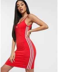 adidas Originals Three Stripe Strap Dress - Red