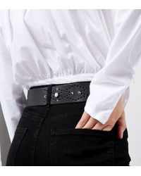 Retro Luxe London - Pearl & Stud Embellished Black Leather Belt - Lyst