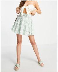 Love Triangle Tiered Smock Waist Coordinating Mini Skirt - Multicolor