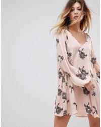 Free People - Emma Print Long Sleeved Shift Dress - Lyst