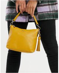 Paul Costelloe – Gelbe Schultertasche aus Leder - Mehrfarbig