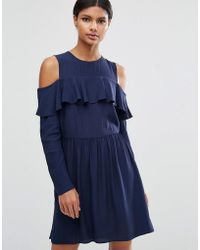 ASOS - Mini Cold Shoulder Dress With Ruffle Detail - Lyst