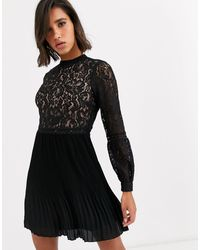 Oasis Skater Dress With Lace Top - Black